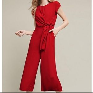 Anthropologie Maeve red jumpsuit size 2